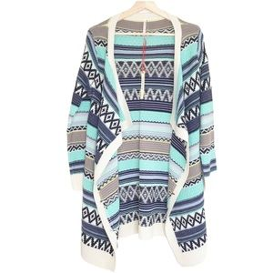 Love Aztec Print Open Cardigan Sweater